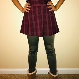 Candie's burgundy plaid skirt